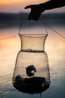 Pêche, poissons d'eau douce crus dans le filet pour la capture.