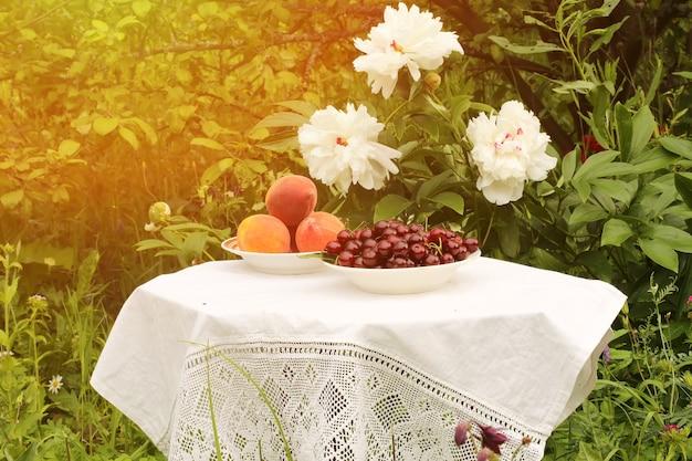 Pêches cerises dans une assiette en céramique dans la cour du jardin de la nappe de table été
