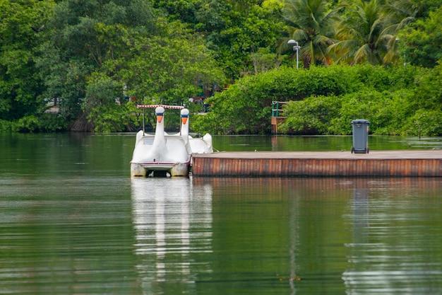 Pédalo au lagon rodrigo de freitas à rio de janeiro au brésil.