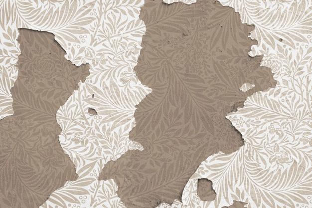 Peeling floral papier peint sur mur de béton