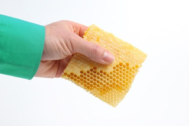Peigne à miel dans la main sur fond blanc