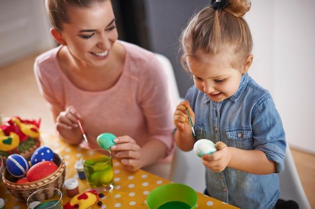 Peindre des œufs de pâques est notre tradition