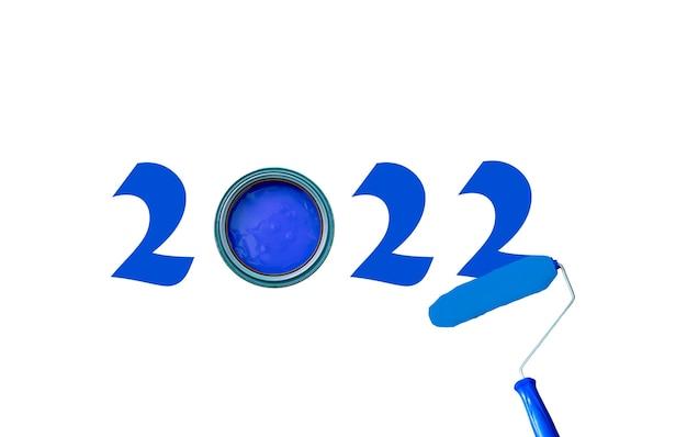 Peinture 2022 avec de la peinture bleue