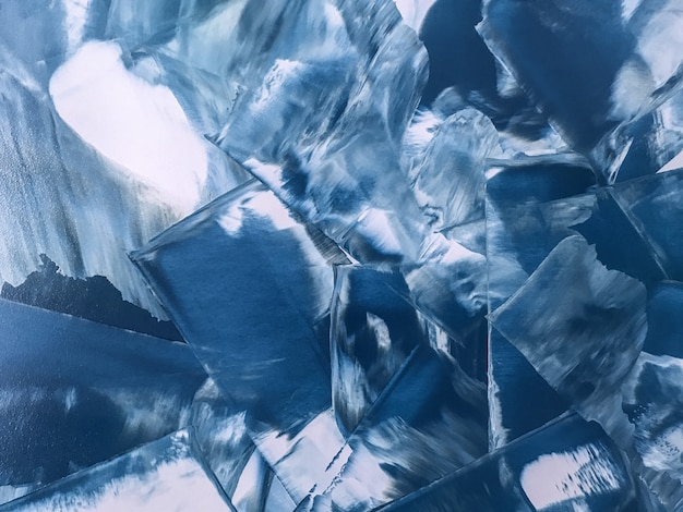 Peinture abstraite art couleurs bleu et blanc marine,