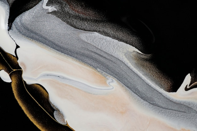 Peinture acrylique faite à la main de fond de marbre liquide noir