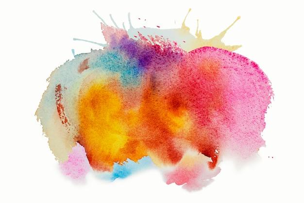 Peinture aquarelle brillante encre de pinceau bleu rose jaune, goutte de tache de coup d'éclaboussure