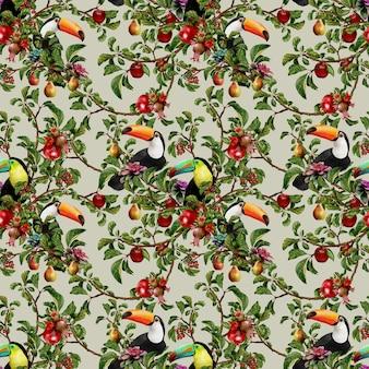 La peinture à l'aquarelle dessinée à la main de modèle sans couture de la flore laisse des plantes et des fruits avec des oiseaux tropicaux.