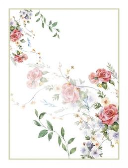 Peinture à l'aquarelle de feuilles et de fleurs, sur fond blanc