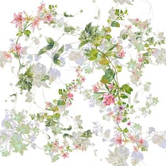 Peinture aquarelle de feuilles et fleurs, modèle sans couture sur blanc