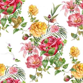Peinture aquarelle de feuilles et fleurs, modèle sans couture sur fond blanc