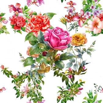 Peinture aquarelle de feuilles et fleurs, modèle sans couture