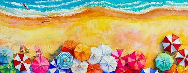 Peinture aquarelle paysage marin vue de dessus colorée des amoureux, famille.