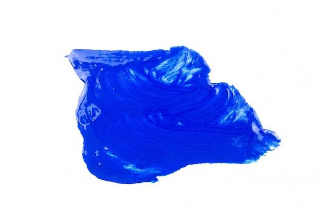 Peinture bleue sur fond blanc