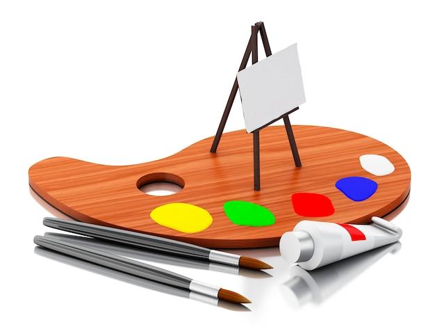 Peinture de chevalet 3d et palette de couleurs.
