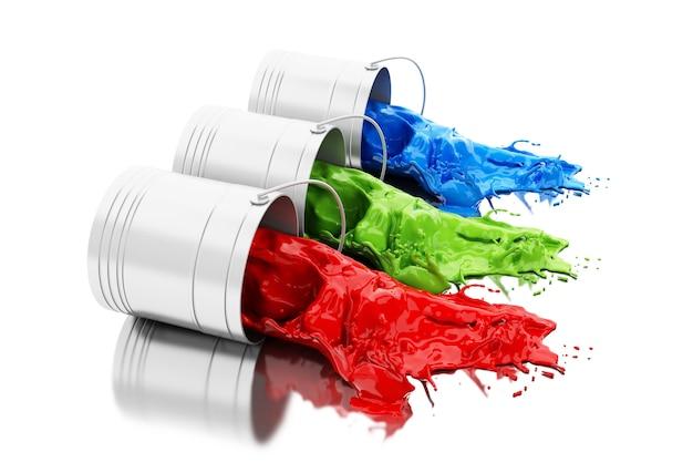Peinture colorée 3d éclaboussant des canettes