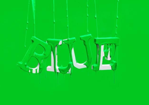 Peinture dégoulinant sur mot flottant bleu