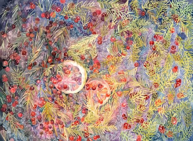 Peinture d'hiver dessinée à la main à l'aquarelle avec des aiguilles d'épinette de baies rouges de citrons
