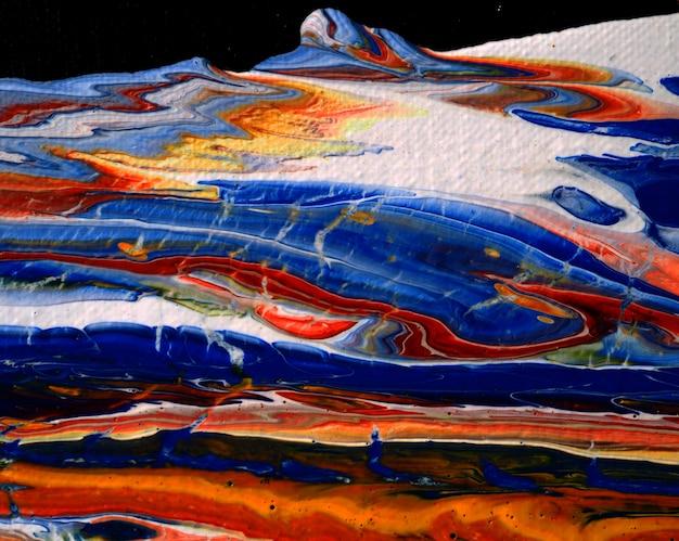 Peinture à l'huile colorée coulant sur toile