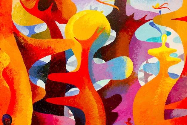 Peinture à l'huile colorée originale et couleur acrylique sur toile.
