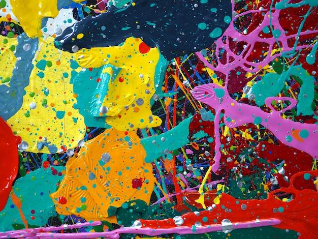Peinture à l'huile dessinée à la main. peinture à l'huile sur toile. fond multicolore.