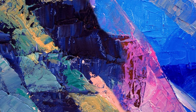 Peinture à l'huile sur fond abstrait de toile.