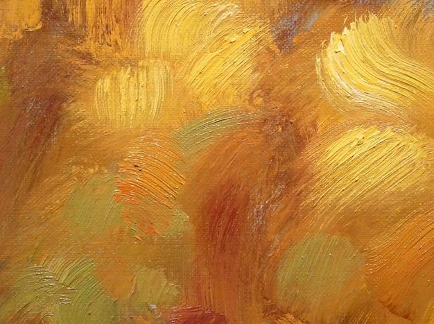 Peinture à l'huile de fond d'art abstrait sur toile fragment d'œuvres d'art coups de pinceau de peinture art contemporain coups de pinceau de texture de couleur jaune dessinés à la main oeuvre pour un design créatif