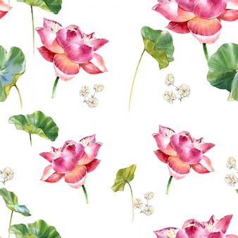 Peinture illustration aquarelle de feuilles et de lotus, modèle sans couture sur fond blanc
