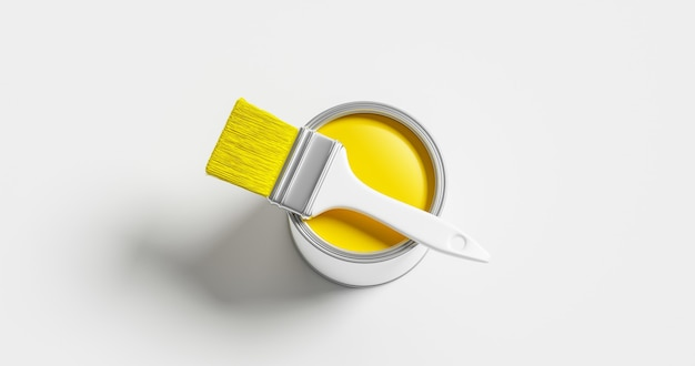 La peinture jaune peut être un seau d'art de conteneur de couleur et un outil de pinceau de peinture pour la conception de maison de rénovation isolé sur fond blanc avec de l'encre conceptuelle créative et colorée. rendu 3d.