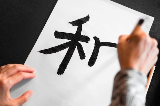 Peinture à la main en gros plan en japonais