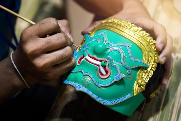 Peinture masque khon, masque traditionnel thaïlandais
