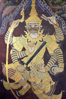 Peinture murale de ramayana au wat pra kaew, bangkok, thaïlande