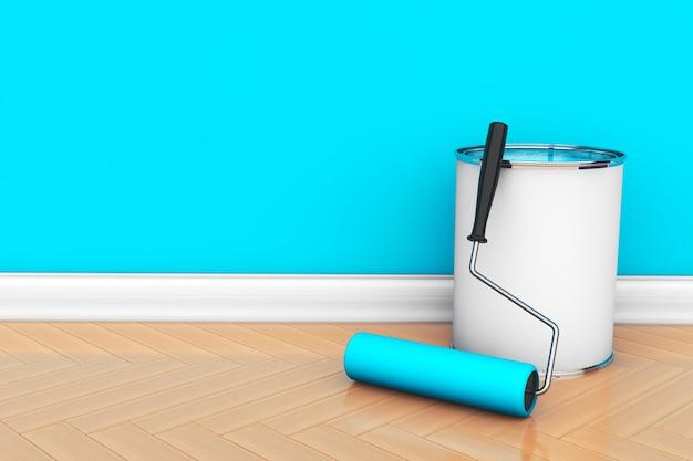 Peinture des murs dans une couleur bleue. pot de peinture avec brosse à rouleau