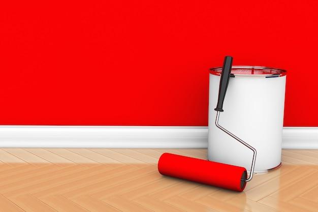 Peinture des murs dans une couleur rouge. pot de peinture avec brosse à rouleau