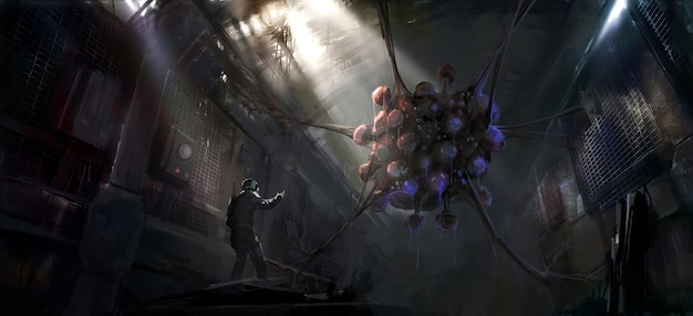 Peinture numérique d'horribles créatures avec des mutations génétiques dans un laboratoire en ruine.