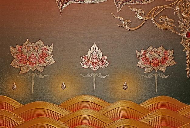 Peinture d'ornement traditionnel sur le mur du temple
