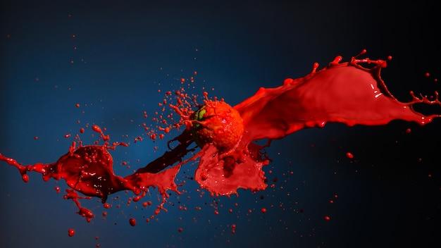 Peinture rouge éclaboussant avec ballon isolé sur bleu