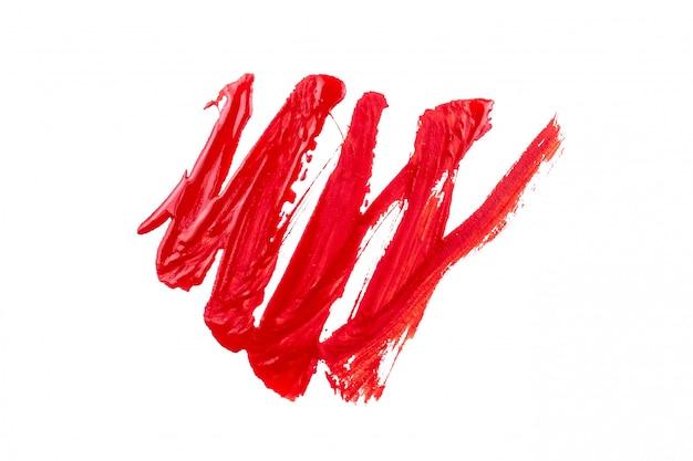 Peinture rouge sur fond blanc