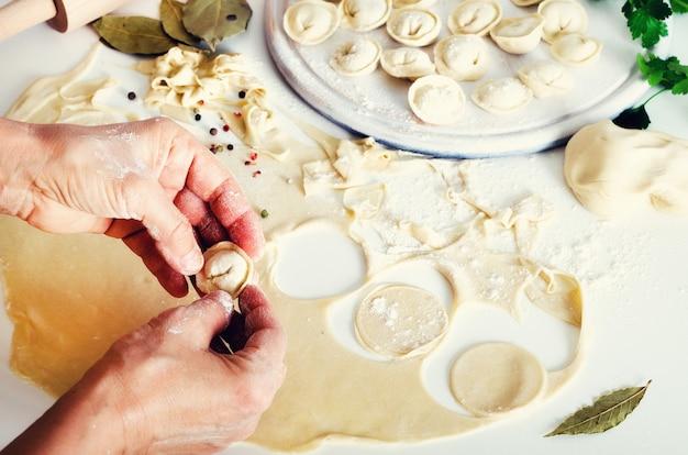 Pelmeni traditionnels russes, raviolis, raviolis à la viande