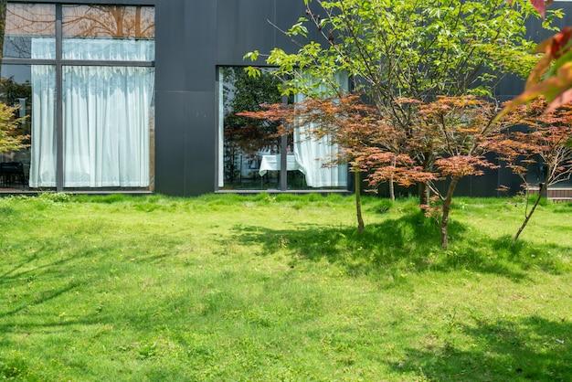La pelouse du jardin de la station