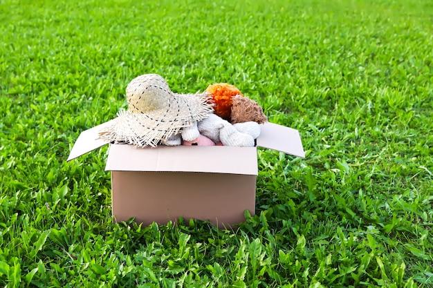 Peluches, poupées et chapeau d'été pour don dans la boîte en carton ouverte sur l'herbe verte à l'extérieur.
