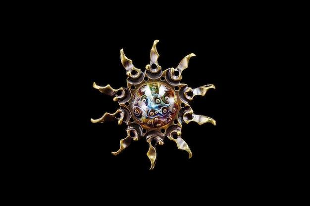 Pendentif soleil en laiton et verre, bijoux au chalumeau
