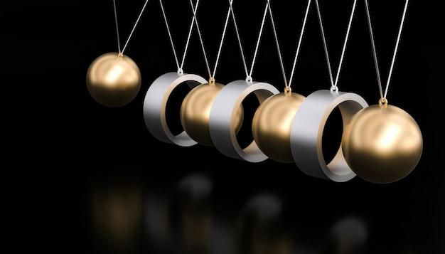 Pendule abstrait newton or et noir