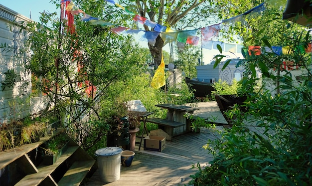 Péniches d'amsterdam sur les rives de la rivière amstel avec des drapeaux de fête colorés et soleil aux pays-bas
