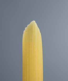 Penne rigate macaroni aux pâtes italiennes close up on grey