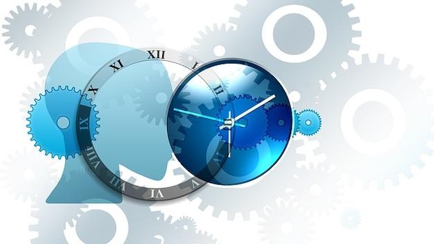 Pensant vitesses d'horloge temps façon face à engrenages