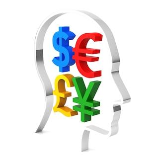 Pensez à l'argent isolé sur le rendu 3d blanc