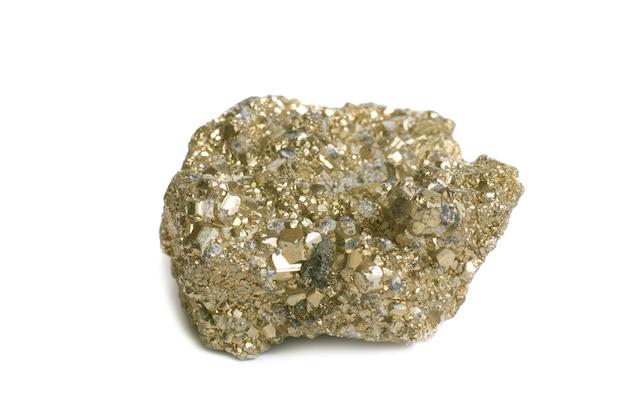Pépite sur l'or du fou isolé sur blanc.