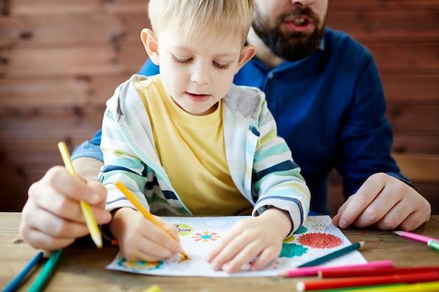 Père et enfant à colorier