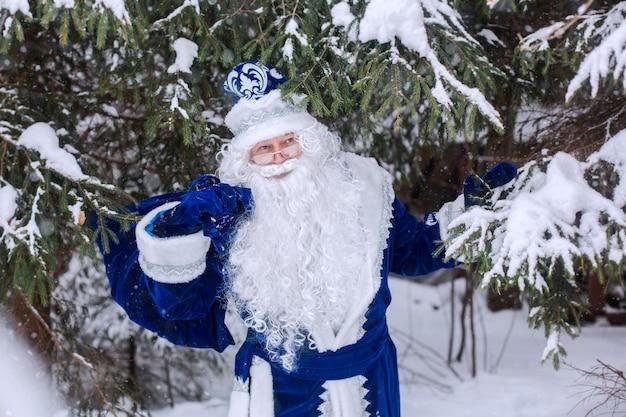 Père frost avec un sac de cadeaux dans les bois, parmi les arbres enneigés. hiver, décembre.