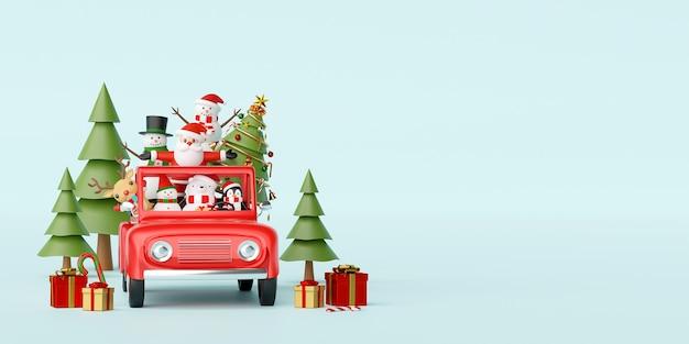 Père noël et ami dans une voiture rouge avec décoration de noël rendu 3d
